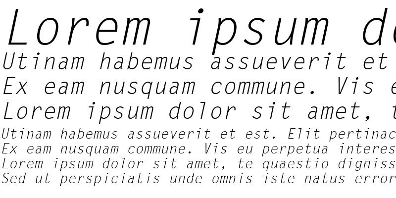 Sample of LetterGothic LT Italic