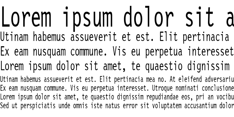 Sample of LetterGothicCondensed