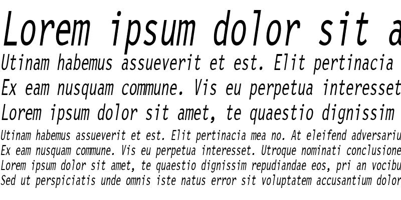 Sample of LetterGothicCondensed Slanted
