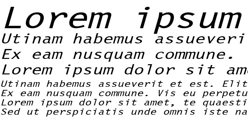 Sample of LetterGothicExtended Slanted