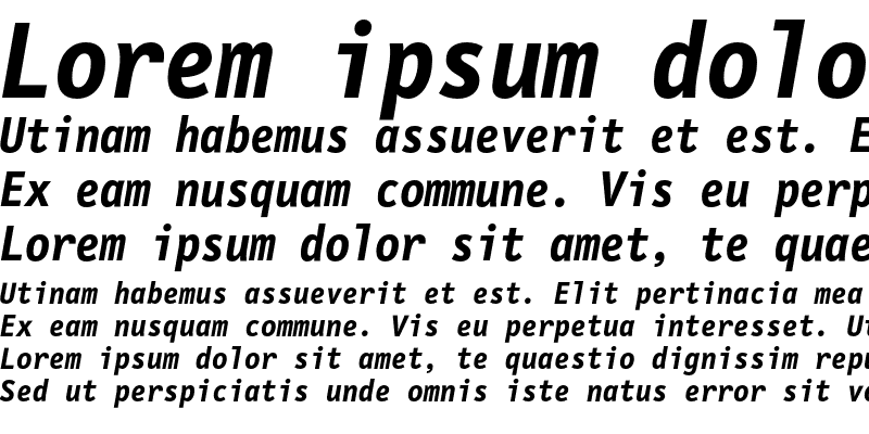 Sample of LetterGothicMono Bold Italic