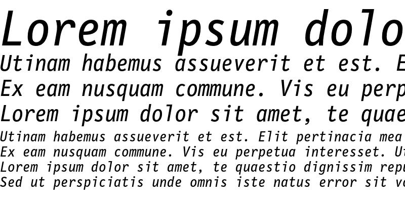 Sample of LetterGothicMono Italic