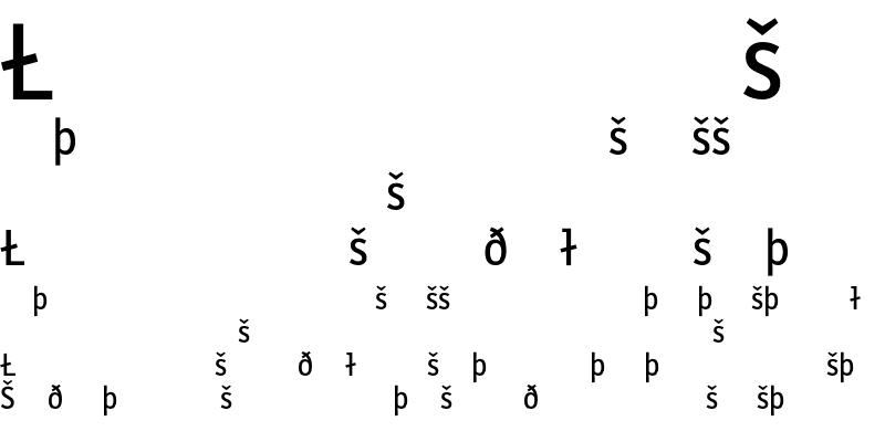 Sample of LetterGothicText Symbol