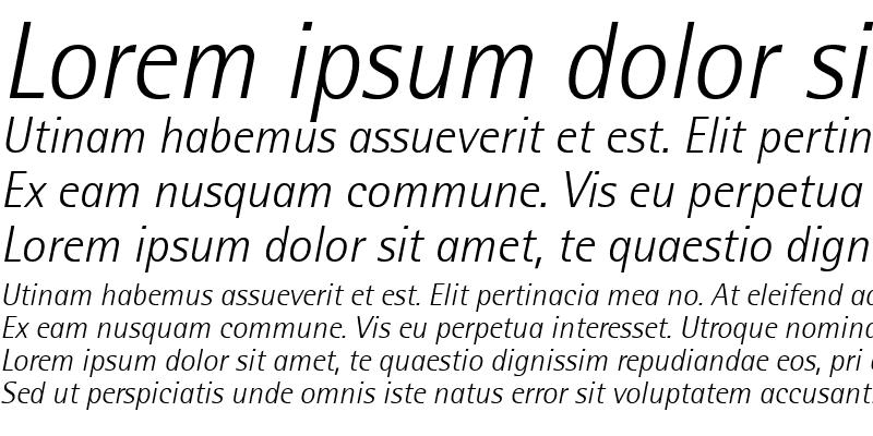 Sample of Libre SemiSans Light SSi Light Italic