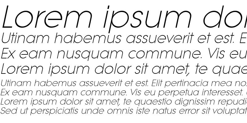 Sample of LitheLight Italic