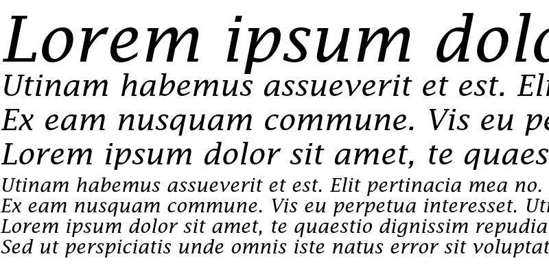 Sample of LucidaFaxEF Roman Italic