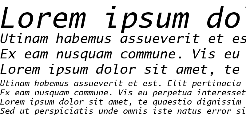 Sample of LucidaMonoEF Italic