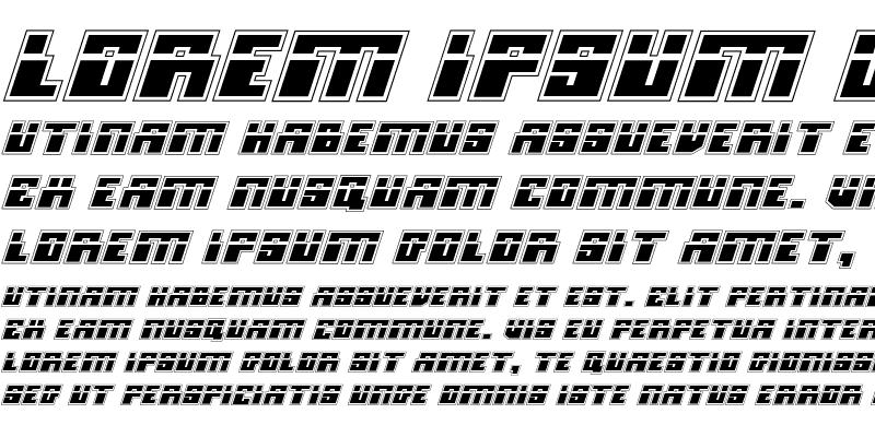 Sample of Micronian Laser Academy Italic Regular