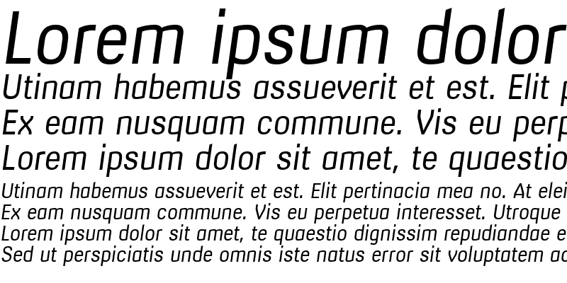 Sample of Milibus Light Italic