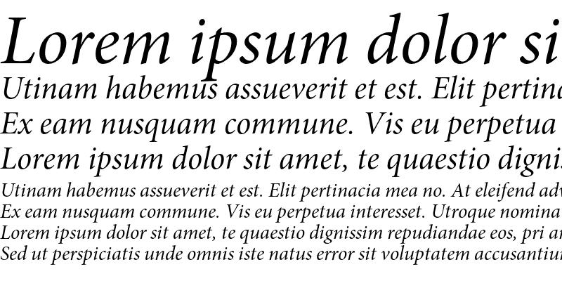 Sample of Minion Pro Italic Subhead