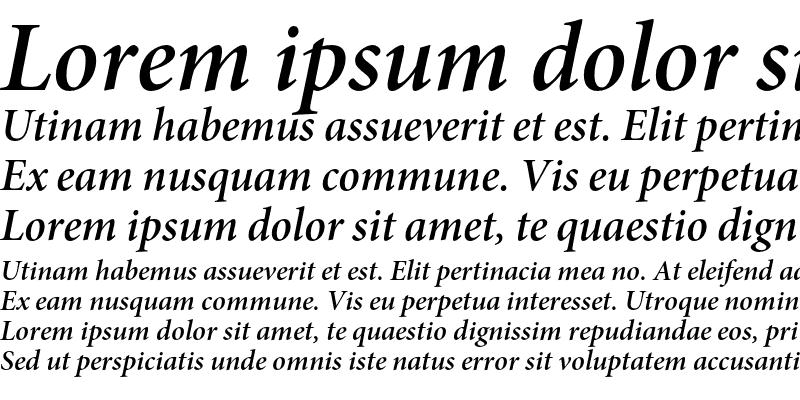 Sample of Minion Pro Semibold Italic Subhead