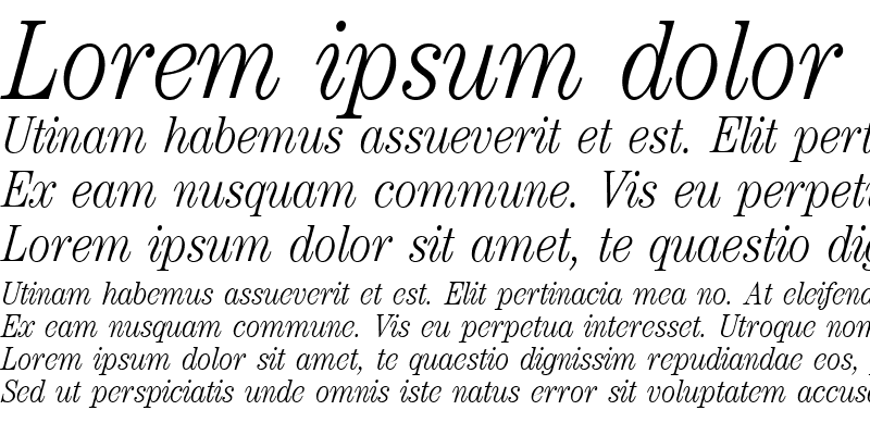 Sample of ModernCenturyCondLight RegularItalic