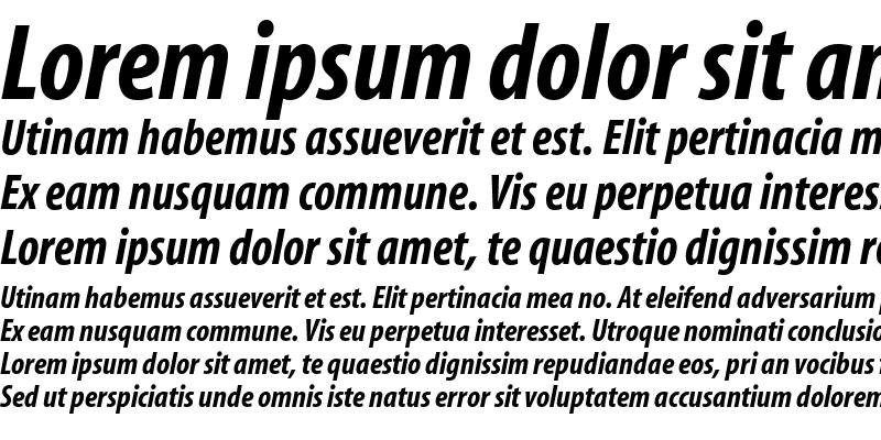 Sample of Myriad Bold Condensed Italic