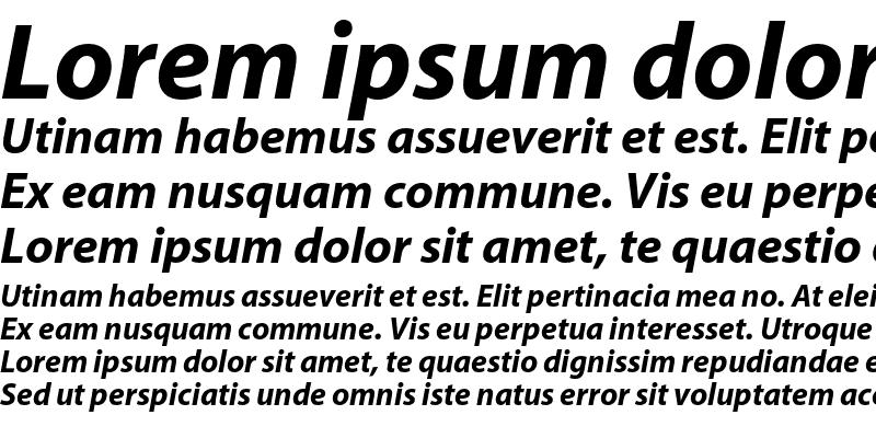 Sample of Myriad Bold Italic