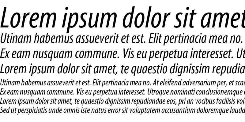Sample of Myriad Condensed Italic