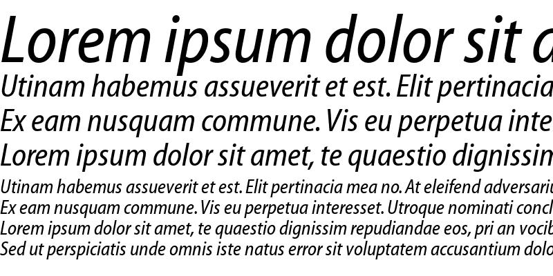 Sample of Myriad Condensed Web Italic