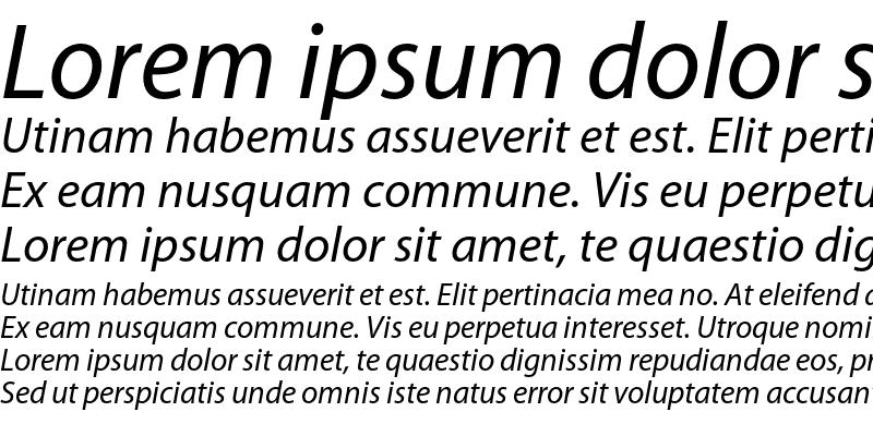 Sample of Myriad Italic