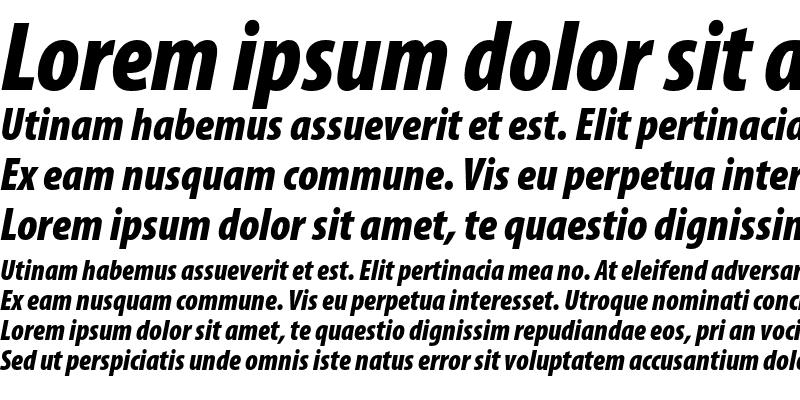 Sample of Myriad Pro Black Condensed Italic