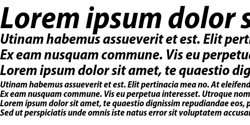 Sample of Myriad Pro Bold SemiCondensed Italic