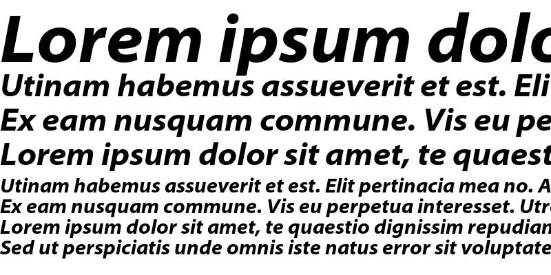 Sample of Myriad Pro Bold SemiExtended Italic