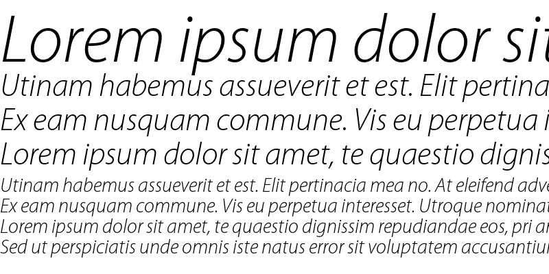 Sample of Myriad Pro Light Italic