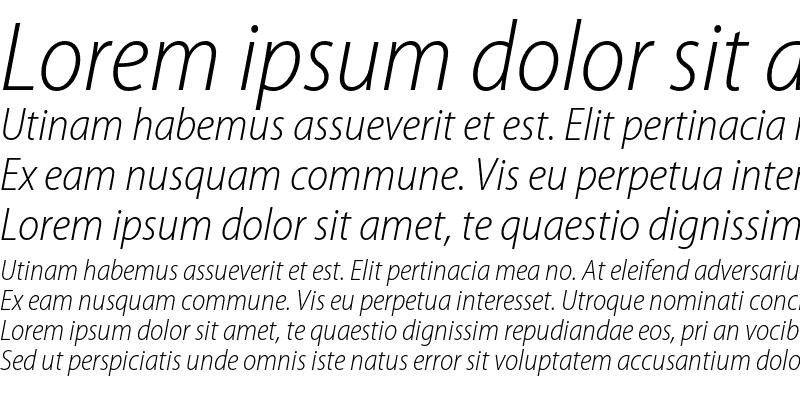 Sample of Myriad Pro Light SemiCondensed Italic