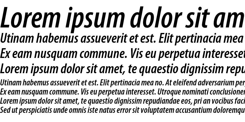 Sample of Myriad Pro Semibold Condensed Italic