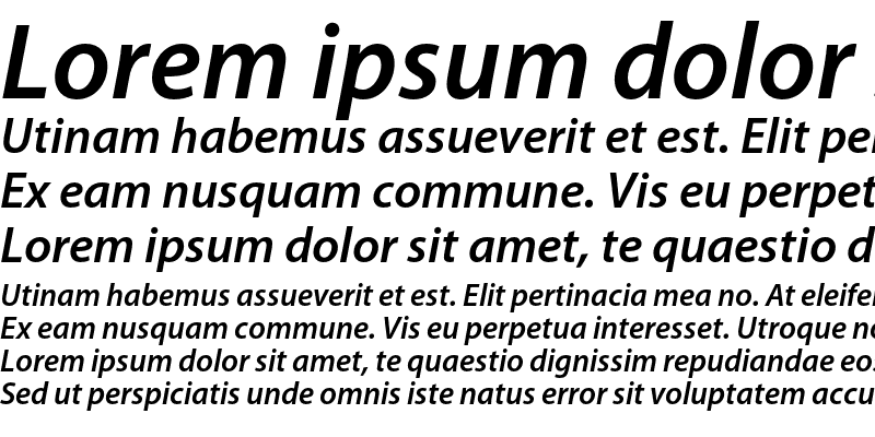 Sample of Myriad Pro Semibold Italic