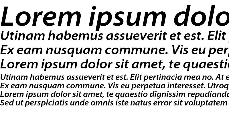 Sample of Myriad Pro Semibold SemiExtended Italic