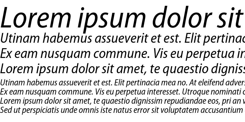 Sample of Myriad Pro SemiCondensed Italic