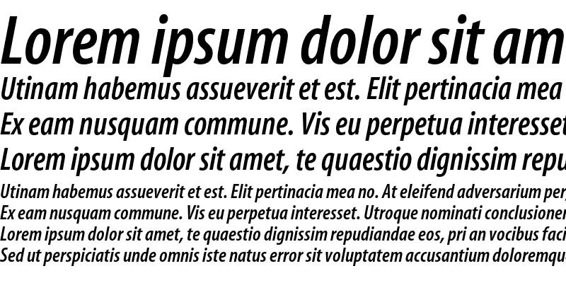 Sample of Myriad Semibold Condensed Italic