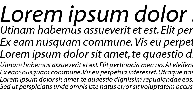 Sample of Myriad Web Italic