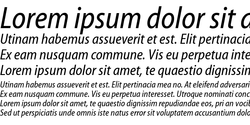 Sample of Myriad Web Pro Condensed Italic