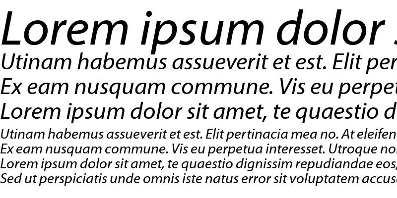 Sample of Myriad Web Pro Italic