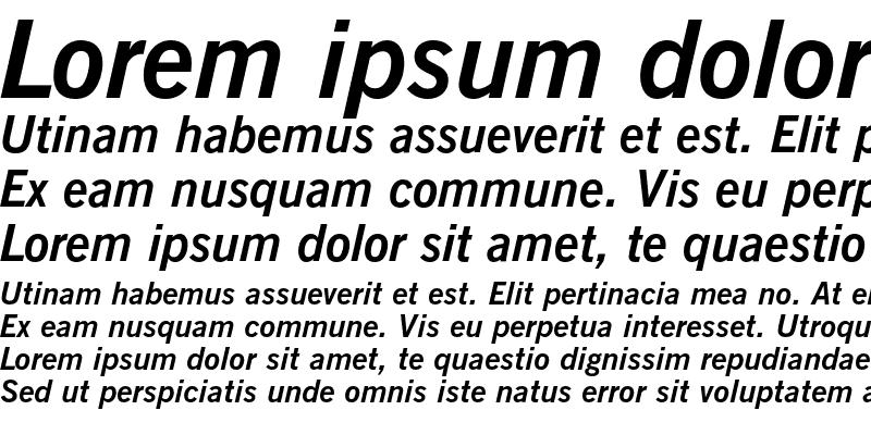 Sample of News Gothic Bold Italic
