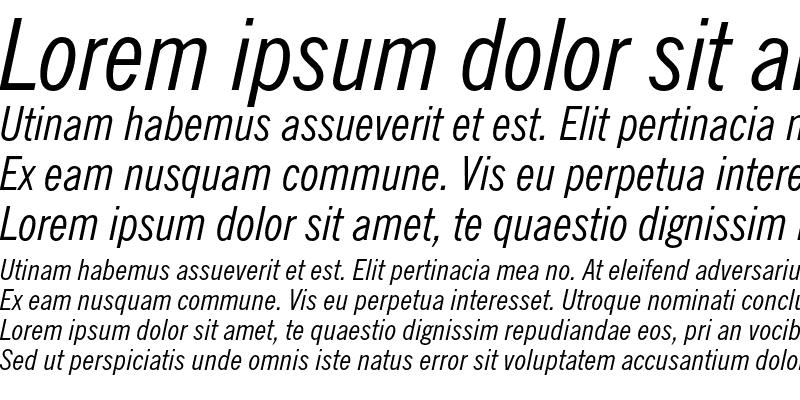 Sample of News Gothic Condensed Italic