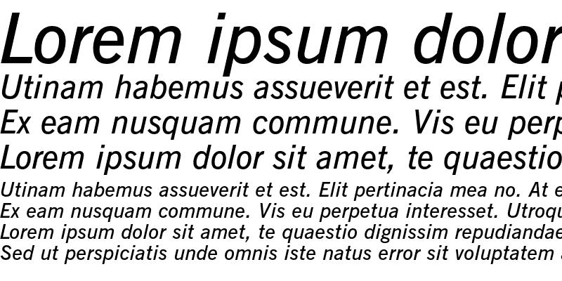Sample of News Gothic Demi Italic