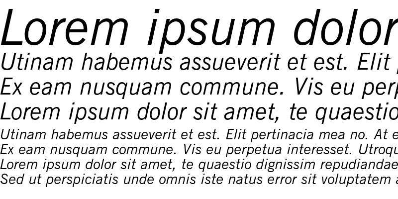 Sample of News Gothic Italic