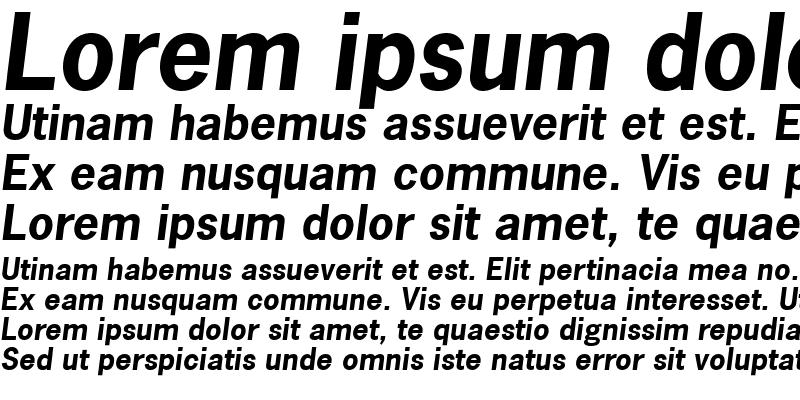Sample of NewsGothic BoldItalic