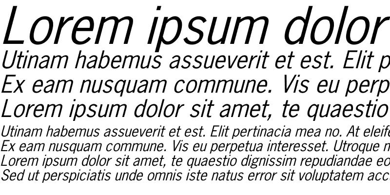 Sample of NewsGothic Italic