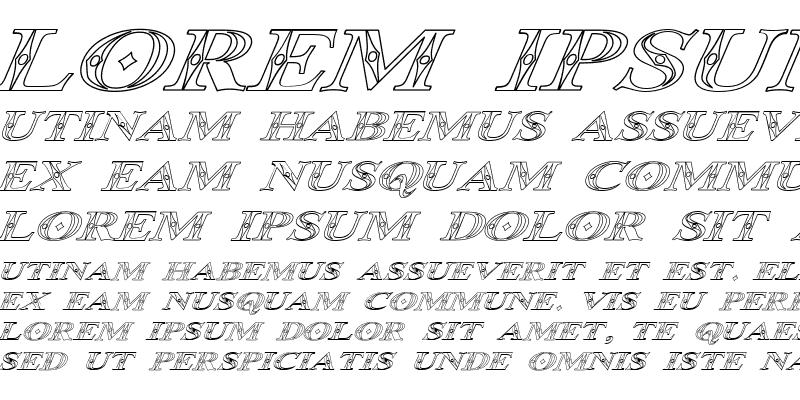 Sample of Occoluchi Italic Outline Regular