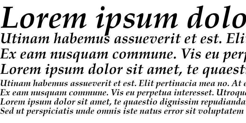 Sample of Palladio Becker Bold Italic