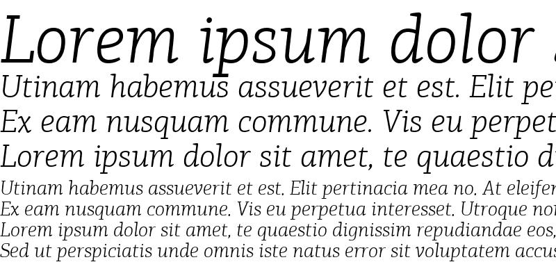 Sample of PF Agora Slab Pro Light Italic