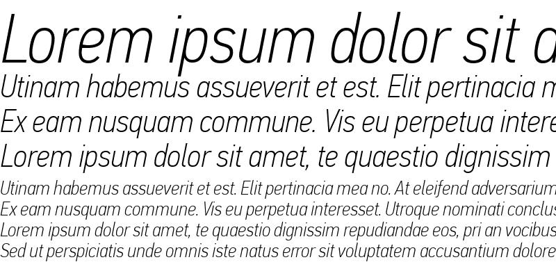 Sample of PF Din Text Cond Pro Thin Italic