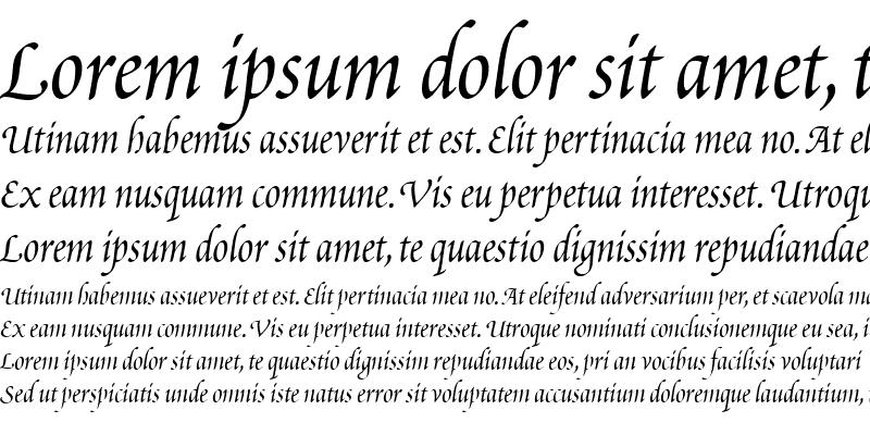 Sample of Poetica ChanceryIII Italic