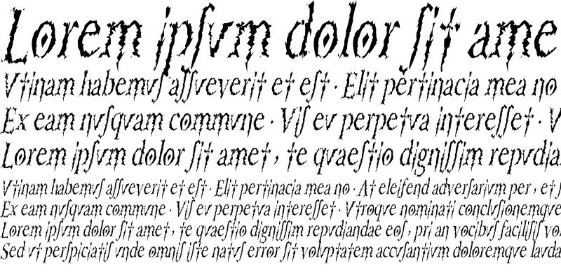Sample of PorcupineRomanCondensed Italic