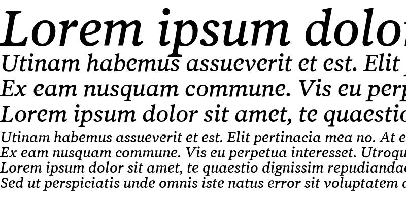 Sample of PoynterText-ItalicThree Regular