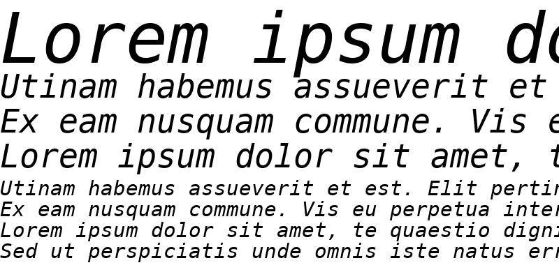 Sample of PrimaSansMono BT Oblique