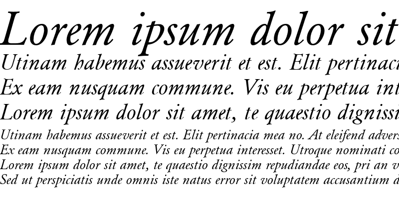 Sample of QTGaromand Italic