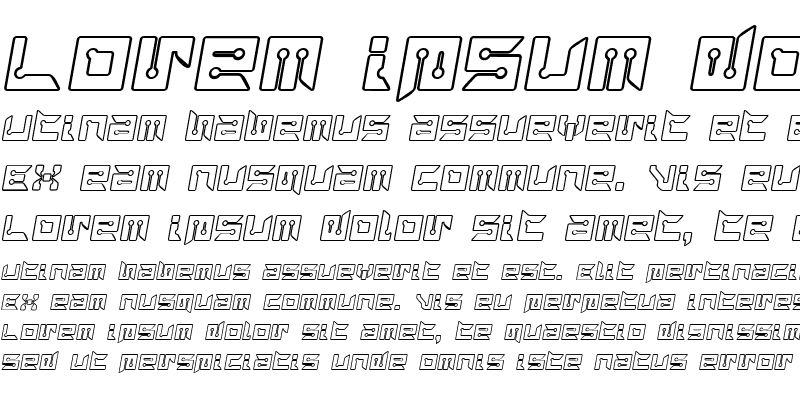 Sample of RayzorBlunt Outline Italic